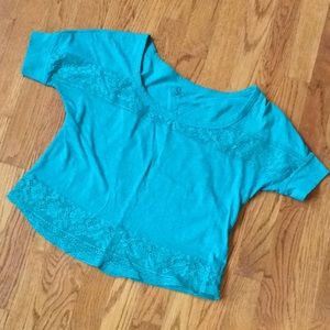 So brand green crop top lace S top